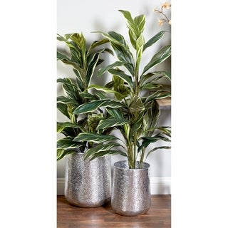 Set of 3 Modern Round Silver Aluminum Planters