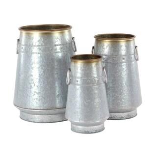 Set of 3 Galvanized Iron Milk Can Planters