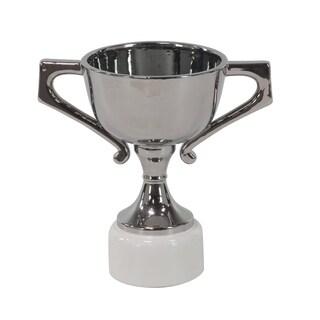 14 X 9 inch Modern Silver-Finished Ceramic Trophy Urn