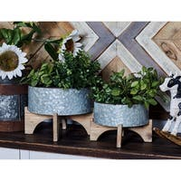 Set of 3 Farmhouse Round Iron Planters with Wooden Stands