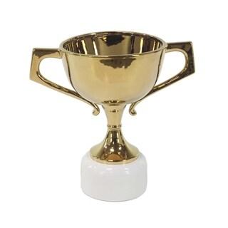 18 X 12 inch Modern Gold-Finished Ceramic Trophy Urn
