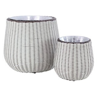 Link to Set of 2 Modern Rattan Bud White Woven Planters Similar Items in Planters, Hangers & Stands