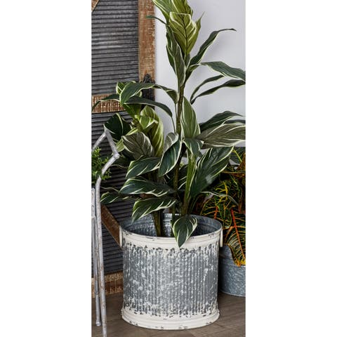 Set of 3 Rustic 11, 14, and 16 Inch Cylindrical Planters by Studio 350