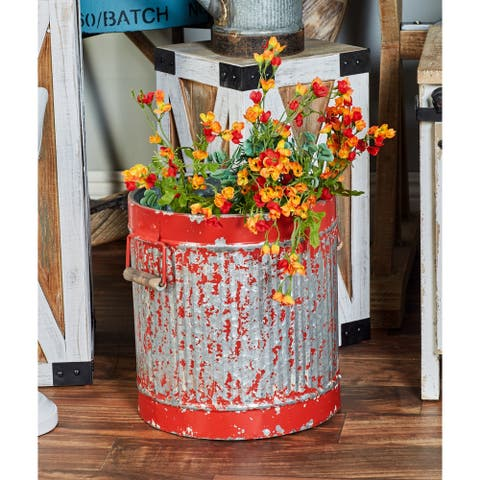 Set of 2 Rustic 13 and 15 Inch Distressed Red Planters by Studio 350