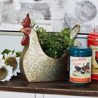 Farmhouse 16 x 12 Inch Chicken Garden Metal Planter by Studio 350