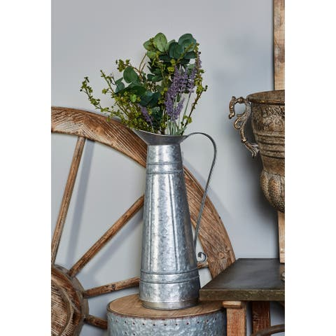 "Studio 350 Farmhouse Style Tall Galvanized Metal Pitcher Vase and Planter with Handle, 9"" x 20"""