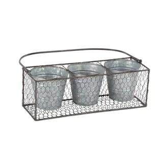 Industrial 3-Bottle Iron Planter Basket