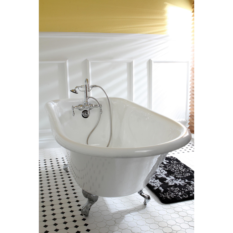 Americana Modern Wall Mount Chrome Clawfoot Tub Faucet