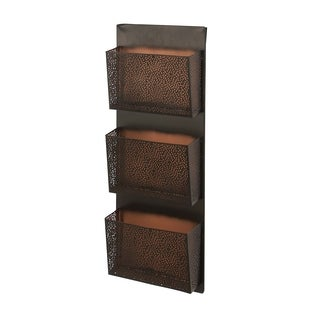 Traditional Iron Perforated-Designed Black 3-Pocket Wall Letter Holder