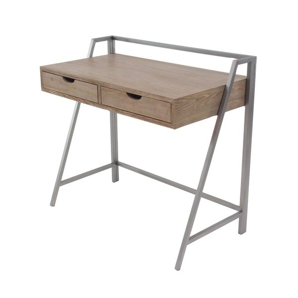 Industrial Wood and Iron 2-Drawer Rectangular Desk