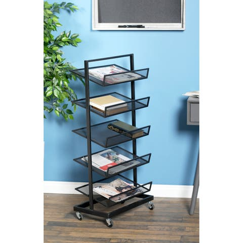 Industrial 5-Tier Iron File Rack with Wheels
