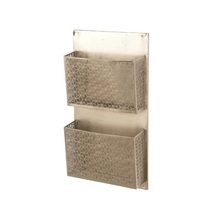 Contemporary Iron Pierced Gray Wall Mounted 2-Pocket Letter Holder