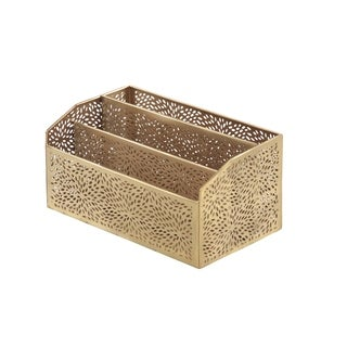 Modern Iron Perforated Design Rectangular 3-Compartment Letter Holder