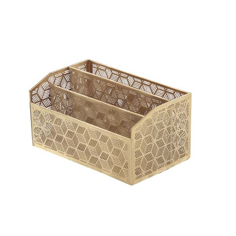 The Curated Nomad Avery Modern Iron Latticed Geometric Rectangular 3-compartment Letter Holder