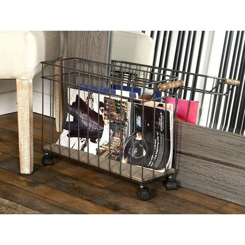 Rustic Fir Wood and Metal Narrow File Basket with Caster Wheels