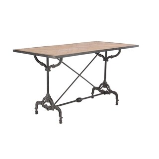 Traditional Brown Wood and Gray Wrought Iron Rectangular Table