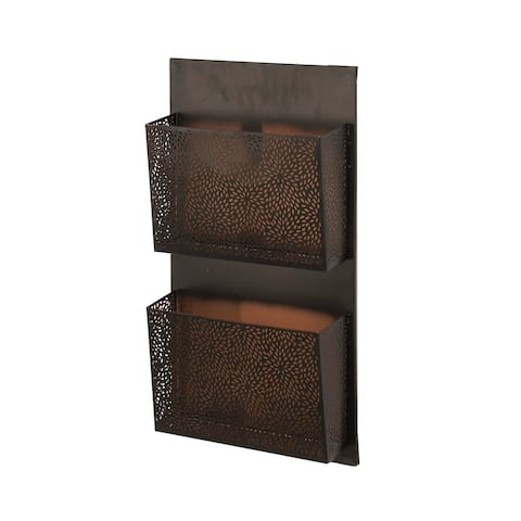 The Curated Nomad Avery Traditional Iron Perforated-Designed Black 2-pocket Wall Letter Holder