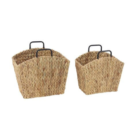 Set of 2 Traditional Hyacinth Trapezoidal Brown Woven File Holders