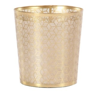 Modern Iron Geometric Lattice Design Round Waste Can
