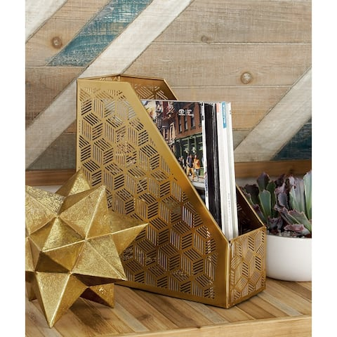 Modern 12 x 5 Inch Gold Iron Latticed File Organizer by Studio 350
