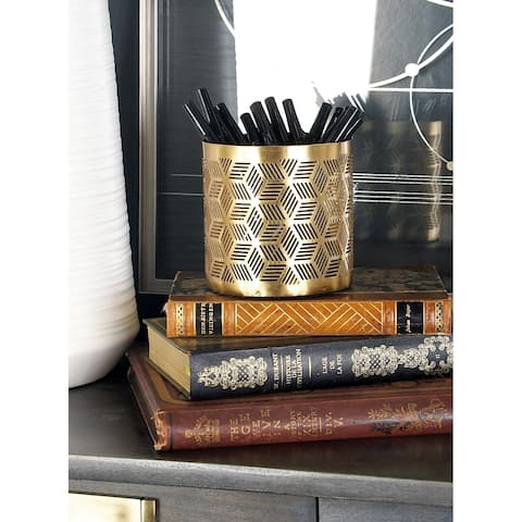 Modern 4 x 4 Inch Gold Iron Latticed Pencil Holder by Studio 350