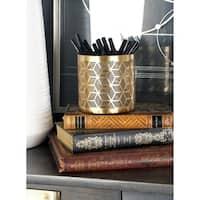 Modern Iron Geometric Lattice Design Round Pencil Holder