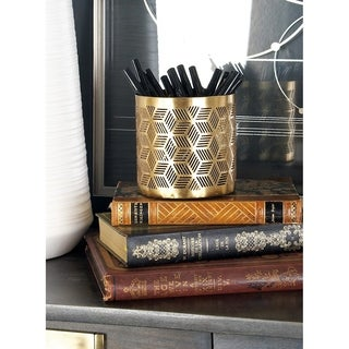 Modern Iron Geometric Lattice Design Round Pencil Holder