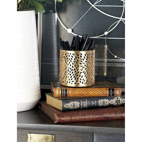 Modern 4 x 4 Inch Gold Iron Perforated Pencil Holder by Studio 350