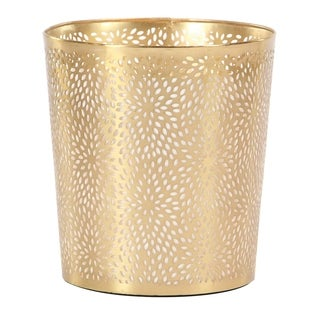 Modern Iron Perforated Design Round Waste Can
