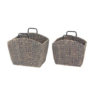 Set of 2 Traditional Hyacinth Trapezoidal Gray Woven File Holders