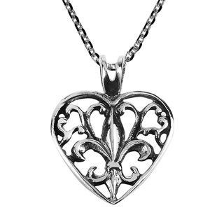 Handmade Elegant Open Fleur De Lis In Heart Sterling Silver Necklace Thailand