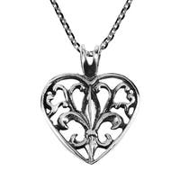 Handmade Elegant Open Fleur-de-Lis in Heart Sterling Silver Necklace (Thailand)