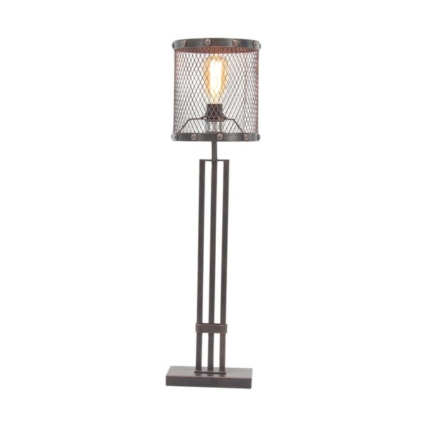 Industrial Round Iron Mesh Table Lamp with Rectangular Stand