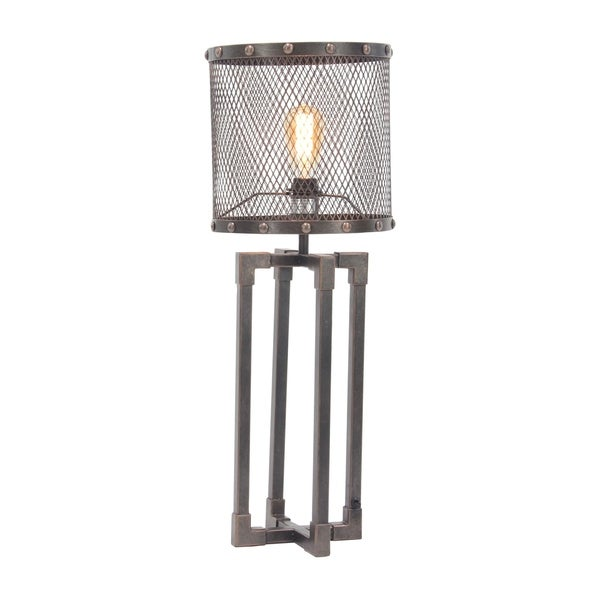 Industrial Round Iron Mesh Table Lamp with Rectangular Frame Base