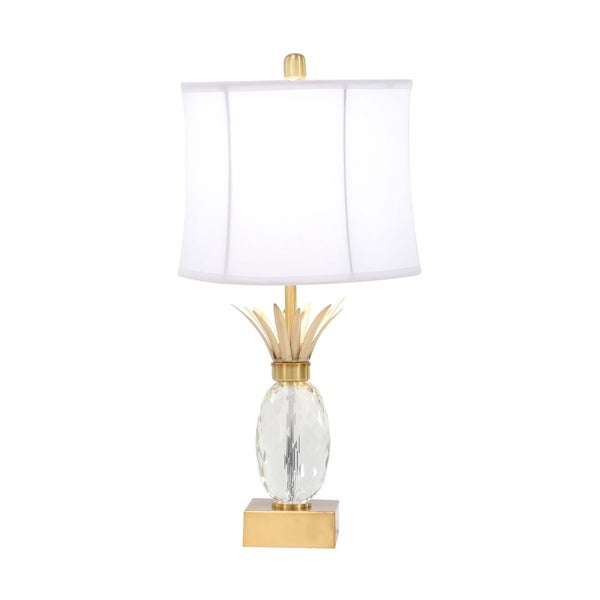 Modern Iron and Crystal Pineapple Shape Table Lamp
