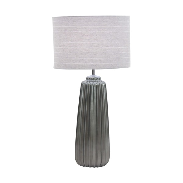 Studio 350 Modern Grey Ceramic 25-inch Fluted Cylindrical Table Lamp