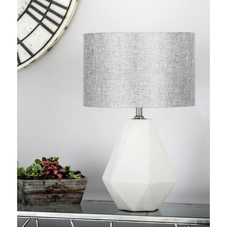 Modern Concrete and Iron Faceted Pear-Shaped Gray Table Lamp