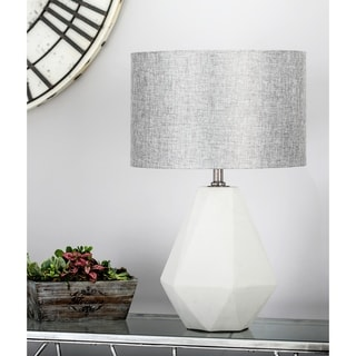 Modern Concrete And Iron Faceted Pear Shaped Gray Table Lamp