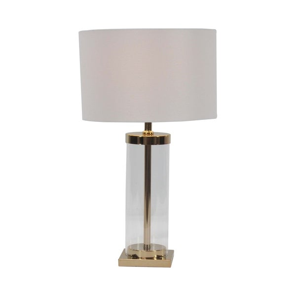 Modern Iron and Glass Cylindrical Table Lamp