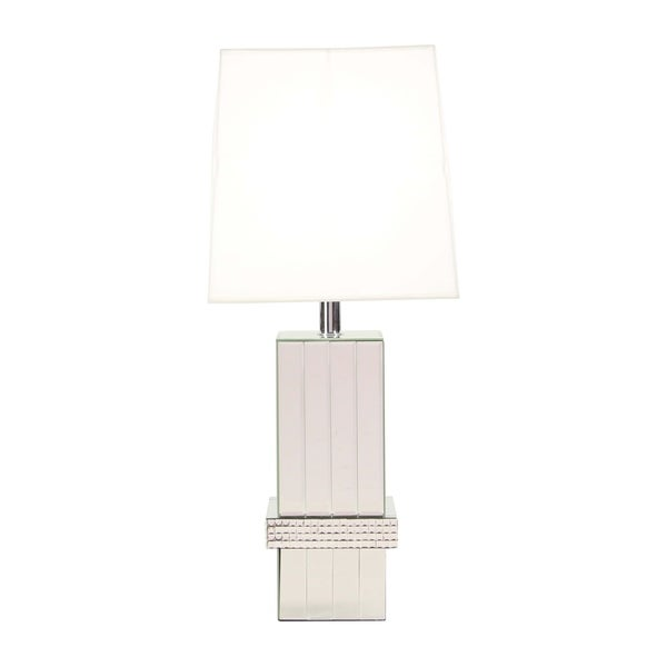 Modern Wood and Mirror Jeweled Table Lamp