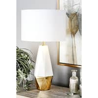 27 inch Modern Ceramic and Iron Faceted Pear-Shaped Table Lamp