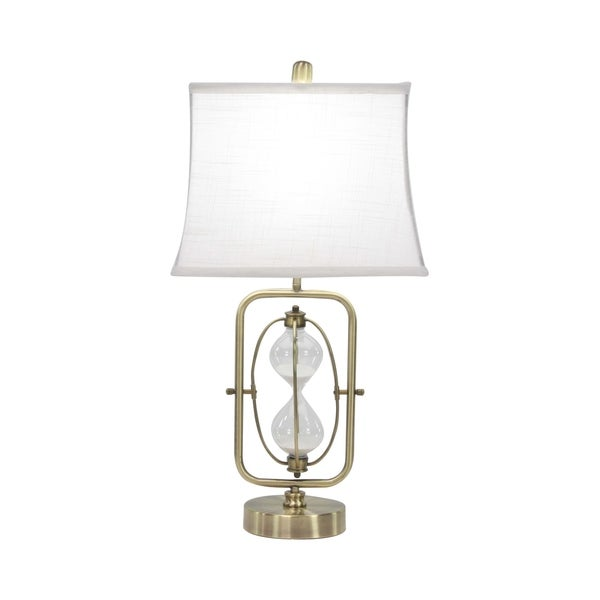 Contemporary White Iron Sand Timer Table Lamp