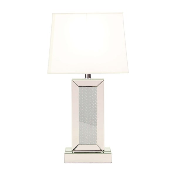 Modern Rectangular Mirrored Wooden Table Lamp