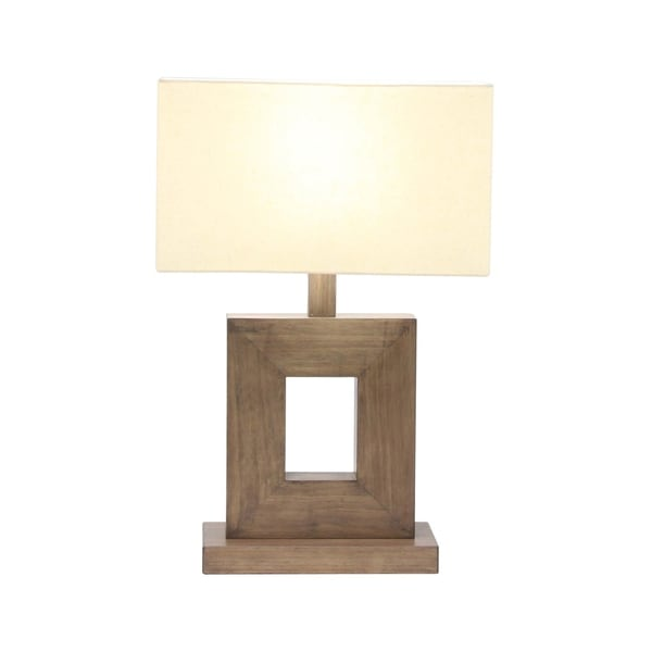 21 X 7 inch Rustic Iron and Pine Wood Square Table Lamp