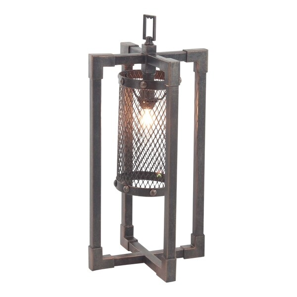 Industrial Round Iron Mesh Table Lamp with Rectangular Frame