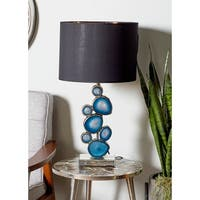 Modern Wood Resin and Mirror Table Lamp with Blue Resin Montage Accent