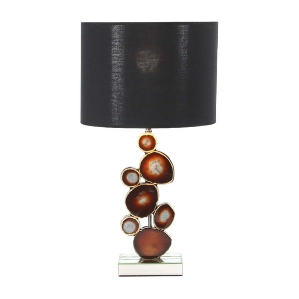 Modern Wood Resin and Mirror Table Lamp with Resin Montage Accent