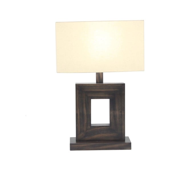 21 X 7 inch Rustic Metal and Pine Wood Cut Out Square Table Lamp