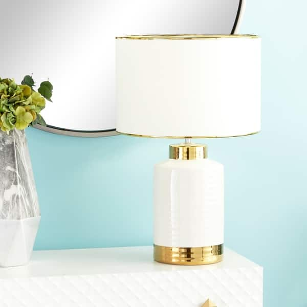 affa8ec5fe60 Large Contemporary Style Round White & Gold Ceramic Table Lamp with White  Drum Shade with Metallic Trim 15