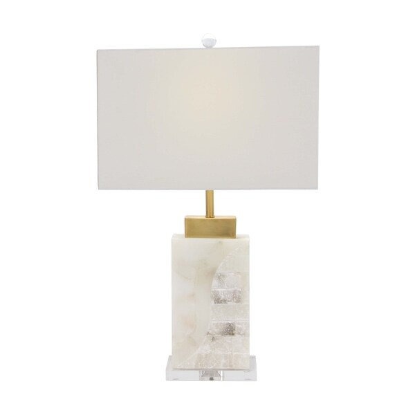 Modern Rectangular White Marble and Iron Table Lamp